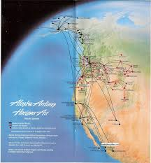 Alaska Air Route Map by Airline Timetables Alaska Airlines June 1991