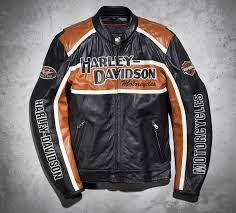 leather motorcycle accessories mens hd harley davidson classic cruiser orange stripes motorcycle