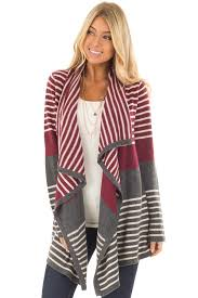 Open Drape Cardigan Sweater Burgundy And Charcoal Open Drape Striped Cardigan Lime Lush Boutique