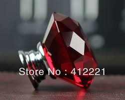 NEW Free Shipping Xmm Red Crystal Diamond Cabinet Knob Drawer - Red kitchen cabinet knobs