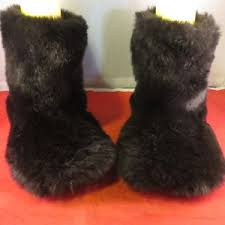 s yeti boots secret pink black fur fuzzy mukluks slipper yeti