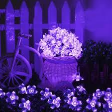 50 Pics Romantic Purple Peach Blossom LED Solar Decorative String