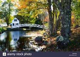 somesville maine beautiful curved bridge over water pond and white