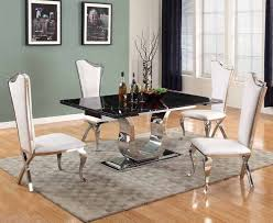 chintaly nadia marble top extension dining table in black u0026 shiny