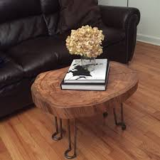 Wood Slab End Table by Hairpin Legs And The Perfect Coffee Table