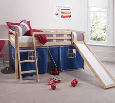 Mid Sleeper Bunk Bed Cabin Bed Pine Mid Sleeper Bunk With Slide Blue Tent 65pine