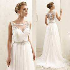 illusion neckline wedding dress 2016 new sleeveless lace illusion neckline plus size chiffon