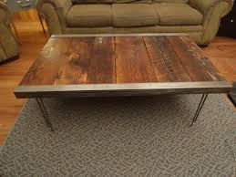 industrial coffee table with raw steel trim and hairpin legs mt