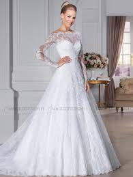 Long Sleeve Wedding Dresses Discount 2015 Elegant Bateau Wedding Dresses Overskirts Sheer Lace