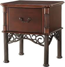 lacy iron metal wood nightstand side end table cherry bronze