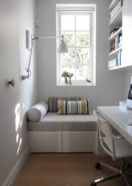Modern Small Home Office With White Furniture And Sofa Stripe - Small home office designs