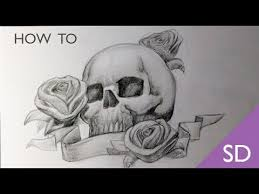 how to draw a skull with roses skull drawings