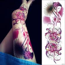 1pc new 48cm long full flower arm tattoo sticker 69 models lotus