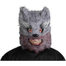 halloween deluxe grey werewolf halloween mask costume mad