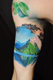 amazing 3d mountains with tree on bicep