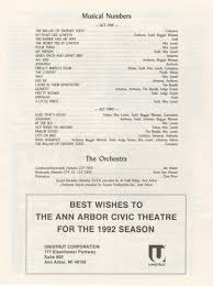 ann arbor civic theatre program sweeney todd may 20 1992 ann