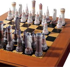 lladro medieval chess set board box included contemporary