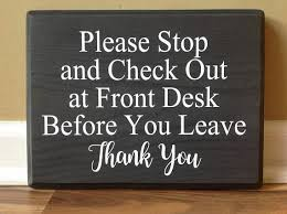 check in desk sign check out at front desk office sign business sign office