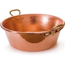 ustensiles de cuisine en cuivre mauviel 2193 bassine à confiture en cuivre martelé poignées en