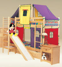 best of coolest modern kid beds awesome natural brown finish cherry wood bunk beds with slide and ladder plus unique colorful tents