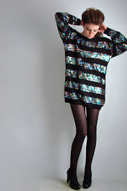 80s sweater dress black studio stuart sweaters vtg 80s blk rainbow