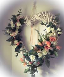 flower wreath wicker heart flower wreath