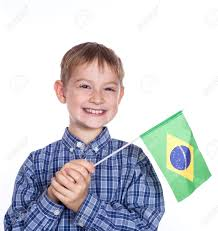 Argentina Flag Face A Little Boy With Brazilian Flag On The White Background Stock