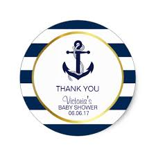 anchor baby shower nautical navy blue gold stripes anchor baby shower classic
