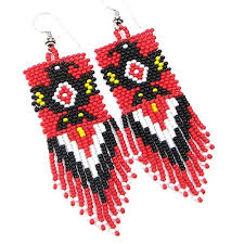 fashion jewelry red necklace images La vivia handmade fashion jewelry red black eagle beaded bead work jpg