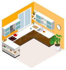 cuisine basse conception isométrique de cuisine icône isométrique de pièce de