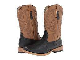 roper ostrich print square toe cowboy boot at zappos com