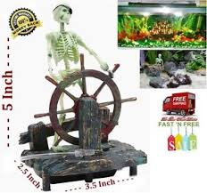 aquarium pirate skeleton ships air fish tank ornaments