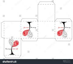 valentines day gift box template cube stock vector 243182611