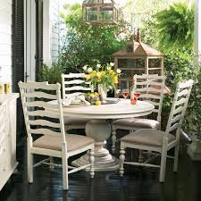 5 pc round pedestal dining table paula deen home 5 piece round pedestal dining set linen with