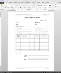 calibration report template calibration record template