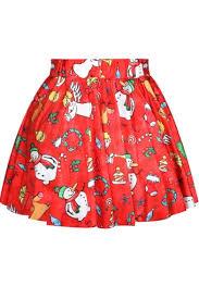 christmas skirt hot christmas party theme print pleated mini skirt beautifulhalo