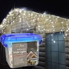 Outdoor Icicle Lights 28m 1200 Leds Snowtime Outdoor Icicle Lights In Cool White On