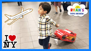 barbi benton children ryan toysreview family fun trip airplane to nyc kinder surprise