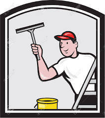 illustration of a window cleaner cleaning a window with squeegee