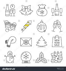christmas new year linear icons set stock vector 534178849
