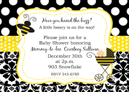 baby shower invitations yellow bumble bee baby shower invitations