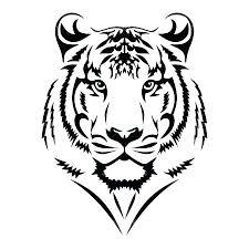 severe geometric tiger design tiger outline