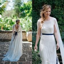 2017 newest bohemian wedding dresses sheer neck flowing ribbon