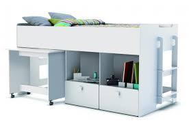 bureau et rangement lit combiné pour enfant 90x200cm avec bureau et rangement blanc zack
