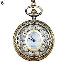 quartz necklace watch images Vintage hollow flower bird quartz pocket watch pendant chain jpg