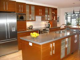 charming island kitchen layout advantages with wood veneer kitchen