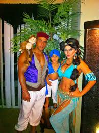 family halloween costumes 2014 princess jasmine and aladdin family couple disney costume