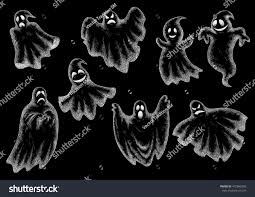halloween chalkboard background photography halloween funny comic ghosts icons chalk stock vector 472895059