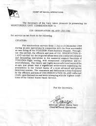 Letter Of Commendation Usns Observation Island T Agm 23 Military Wiki Fandom