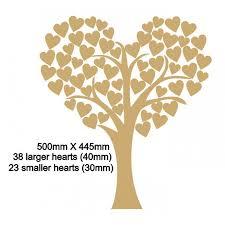 Wedding Tree 3mm Mdf Heart Shaped Wedding Tree Guest Book 50cm X 45cm